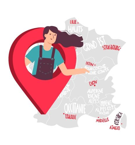 Carte de france pour illustrer le recrutement de l'agence Manala et mis a disposition du personnel qualifier dans tous les régions de la métropole